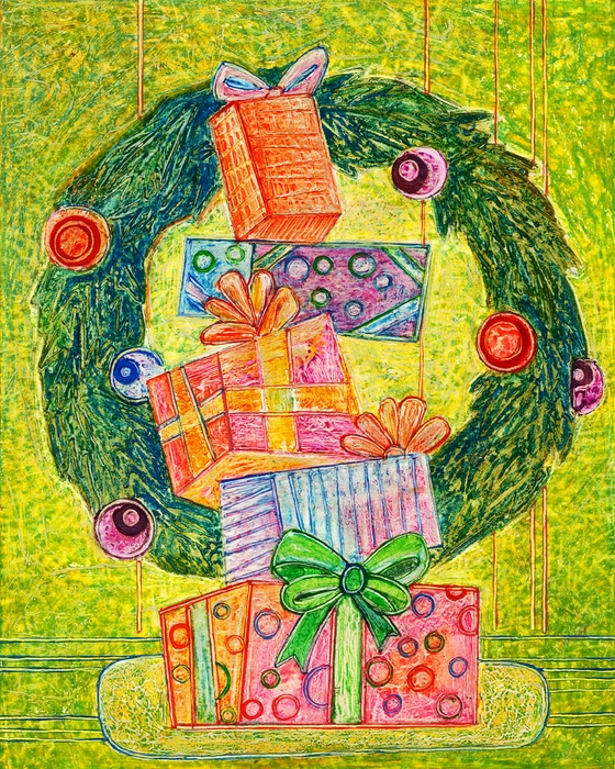 Christmas Wreath with Presents and Gifts