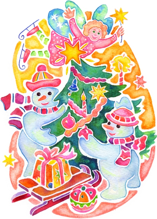 Snowmen Decorate the Christmas Tree