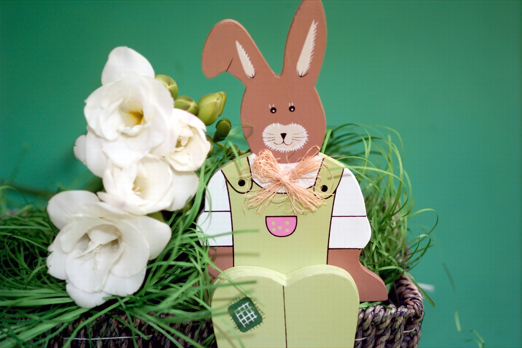 Easter Bunny with White Flowers