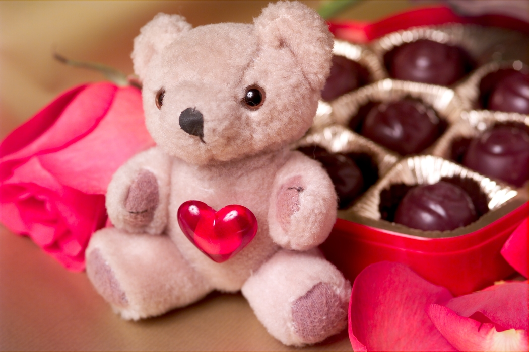 Valentines Day Chocolate Candy with Teddy Bear
