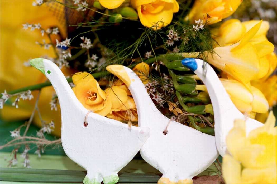 Yellow Easter Flowers with White Chickens