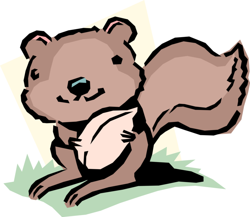 Vector Illustration of Cartoon Bushy-Tailed Rodent Squirrel Gathers Nuts