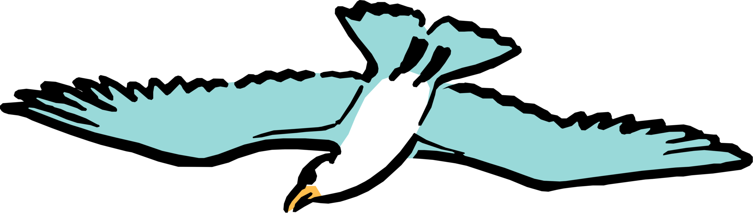 Vector Illustration of Cartoon Seabird Gull in Flight