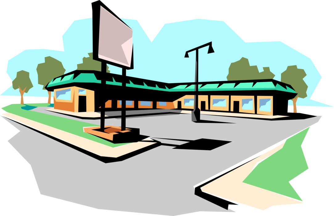 Vector Illustration of Strip Mall Retail Shopping Center