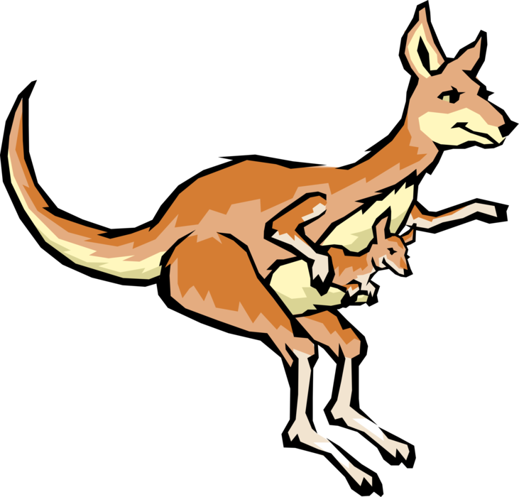 Vector Illustration of Cartoon Australian Kangaroo Marsupial with Joey in Pouch