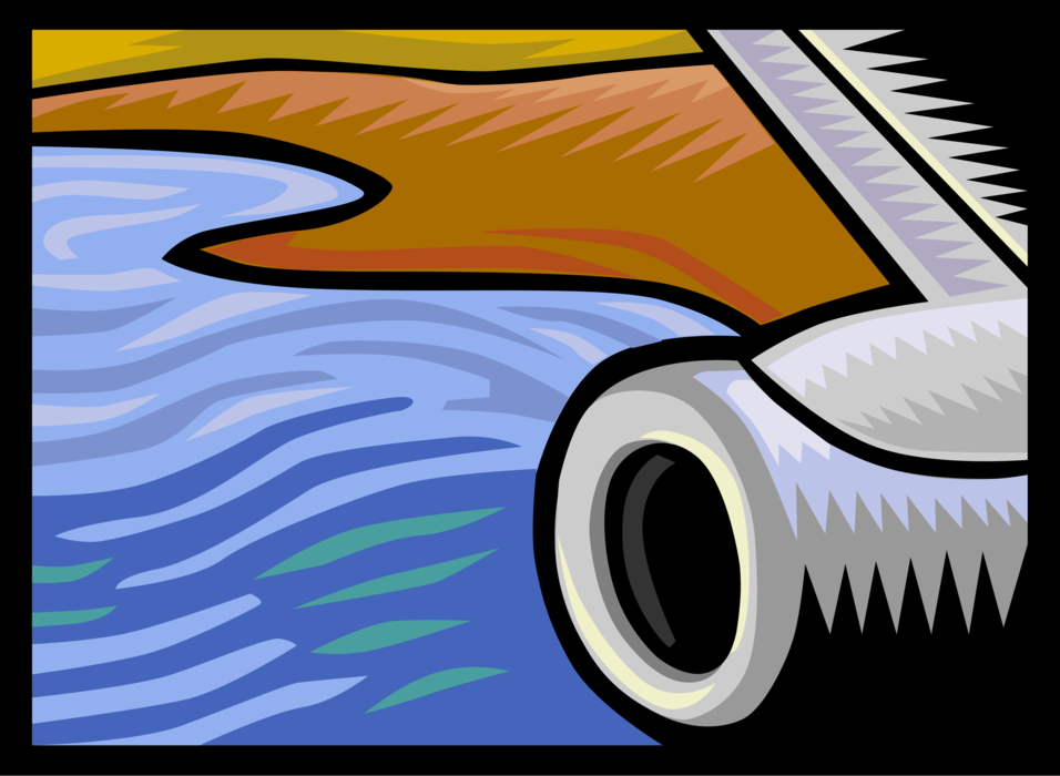 Vector Illustration of Jet Airplane Airliner Engine and Wing in Flight Flying Over Water and Coastline