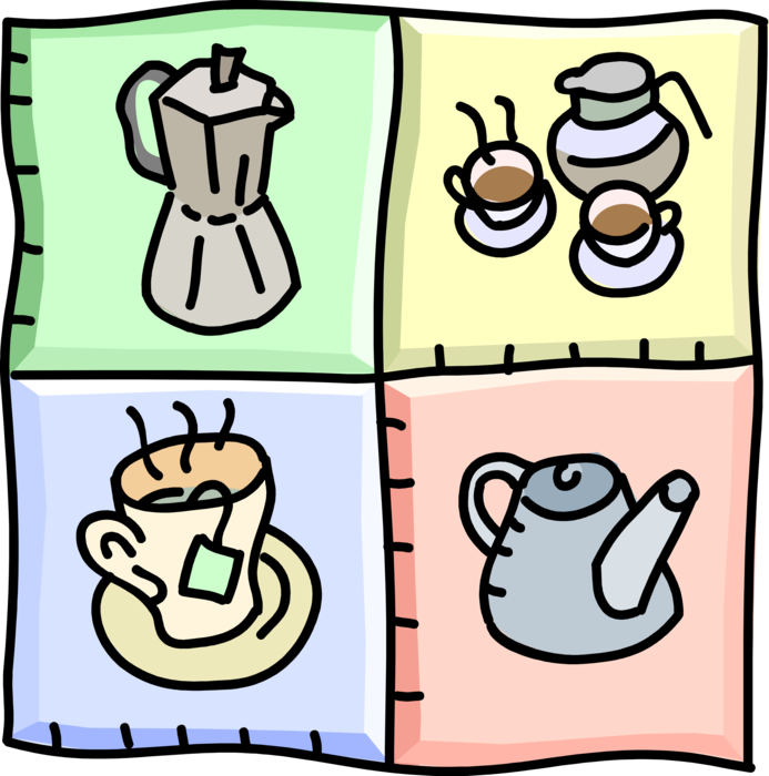 Vector Illustration of Coffee and Tea Service with Coffee and Teapots