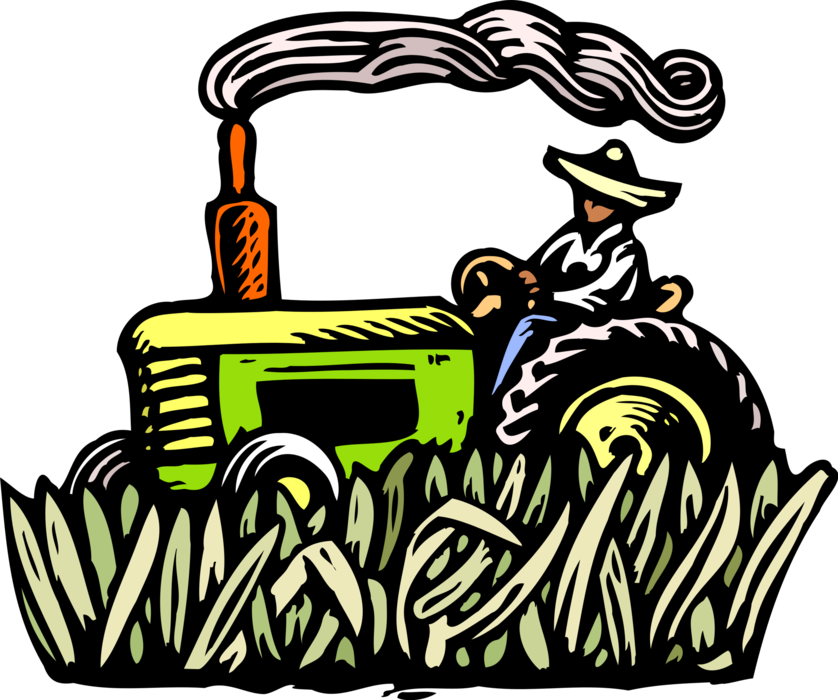 Vector Illustration of Farmer on Farm Equipment Tractor in Field