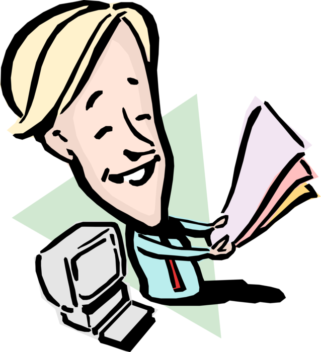 Vector Illustration of Happy Businessman with Report Documents