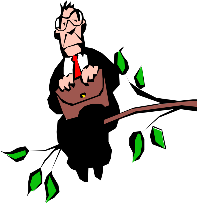 Vector Illustration of Fearless Businessman Out on Limb Tree Branch
