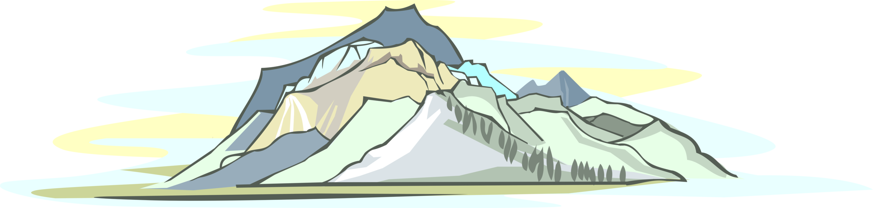 Vector Illustration of Mountain Peaks in the Distance