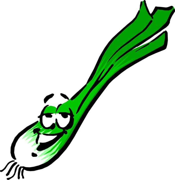 Vector Illustration of Anthropomorphic Scallion Onion