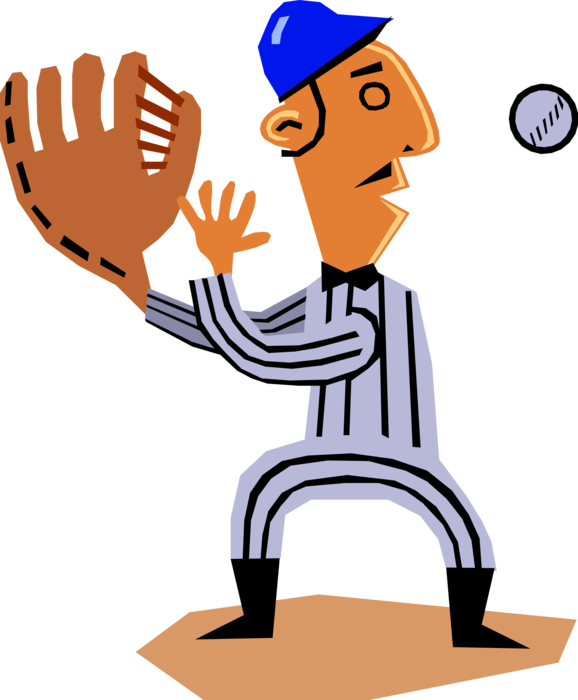 Vector Illustration of American Pastime Sport of Baseball First Baseman Catches the Ball