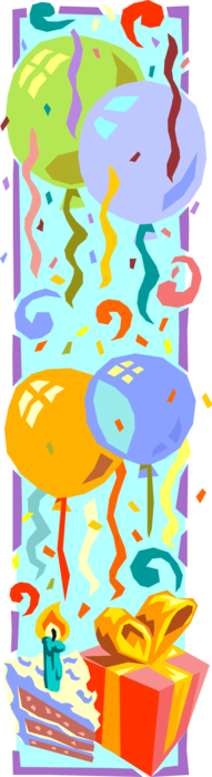 Vector Illustration of Birthday Balloons with Cake and Presents