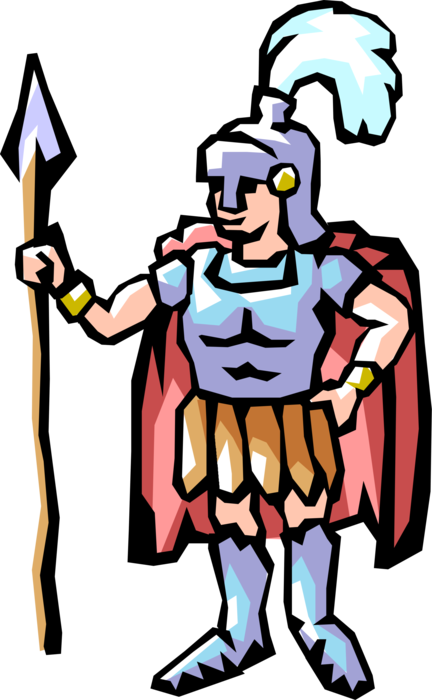 Vector Illustration of Roman Centurion Guard with Spear and Armor
