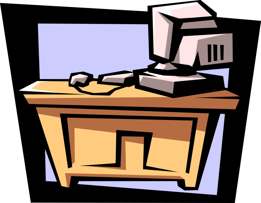 Vector Illustration of Office Desk with Personal Computer System