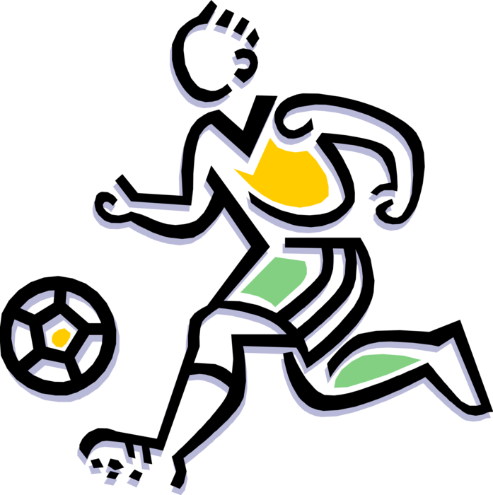 Vector Illustration of Sport of Soccer Football Player Dribbling Ball
