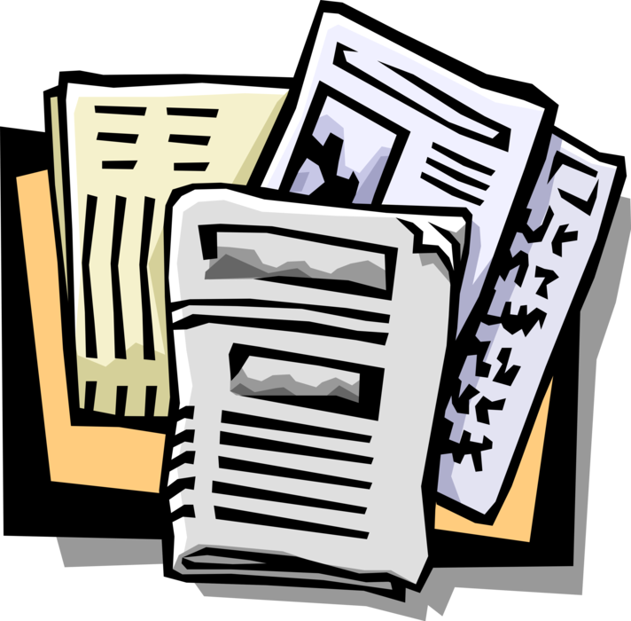 Vector Illustration of Newspaper Serial Publication Containing News, Articles, and Advertising