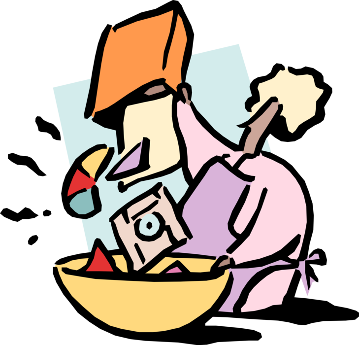Vector Illustration of Business Chef Mixes Multimedia Content in Bowl
