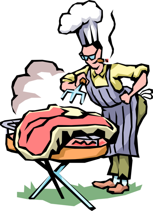 Vector Illustration of Barbecue, Barbeque or BBQ Grill Master with Texas-Size Grilled Beef Steak