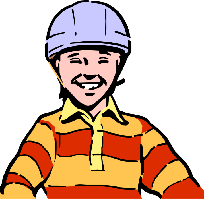 Vector Illustration of Child Wearing Bicycle Safety Helmet