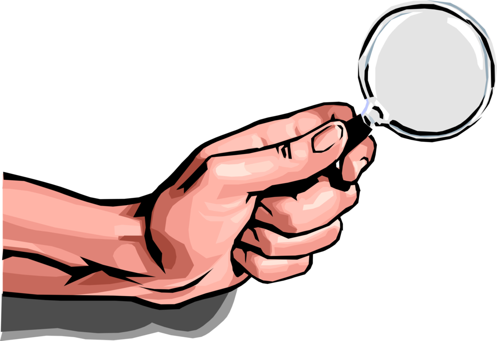 Vector Illustration of Hand with Magnification Through Convex Lens Magnifying Glass