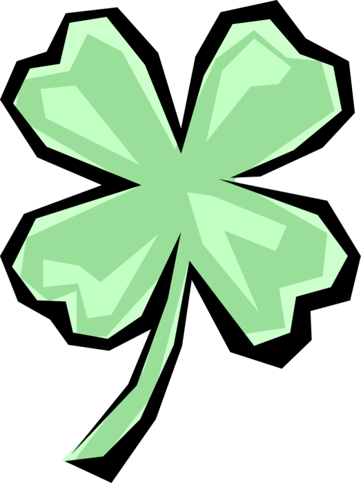 Vector Illustration of St Patrick's Day Four-Leaf Clover Irish Shamrock Brings, Faith, Hope, Love, and Good Luck