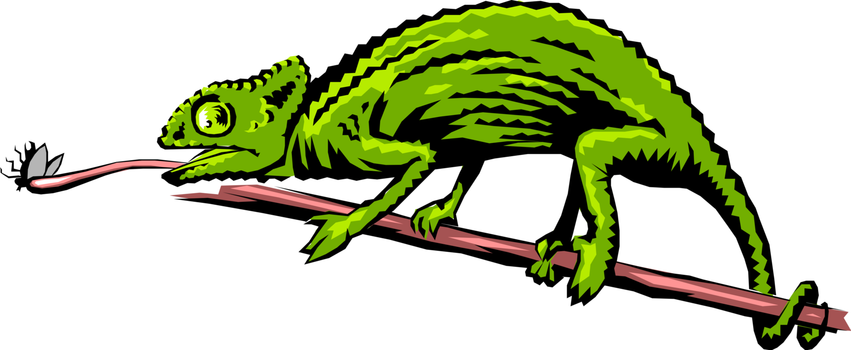 Vector Illustration of Chameleon Lizard Using Tongue to Catch Insect Meal