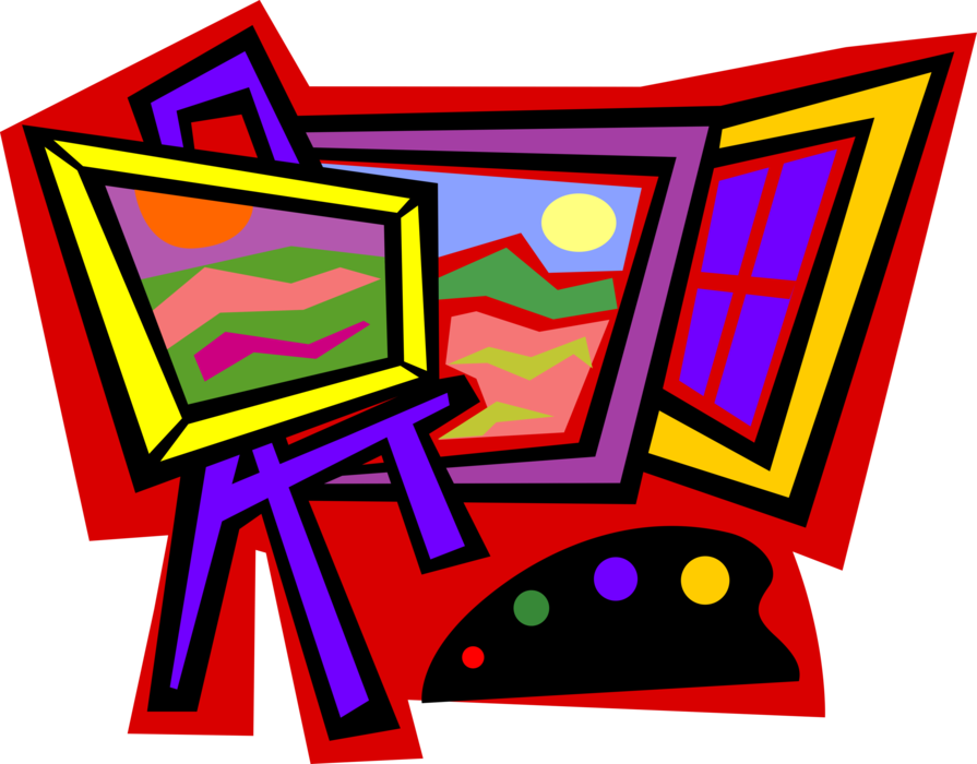 Vector Illustration of Visual Fine Arts Artist's Painting on Easel with Canvas and Palette