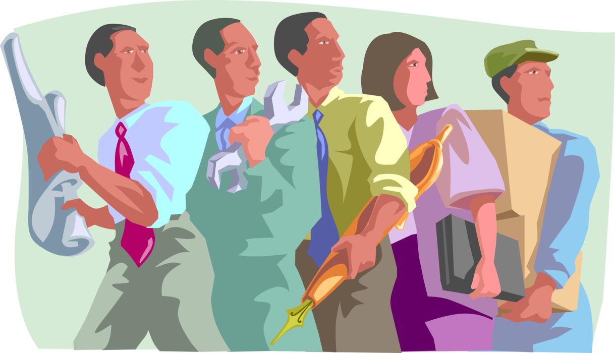 Vector Illustration of Team of Laborers Representing Diverse Professions