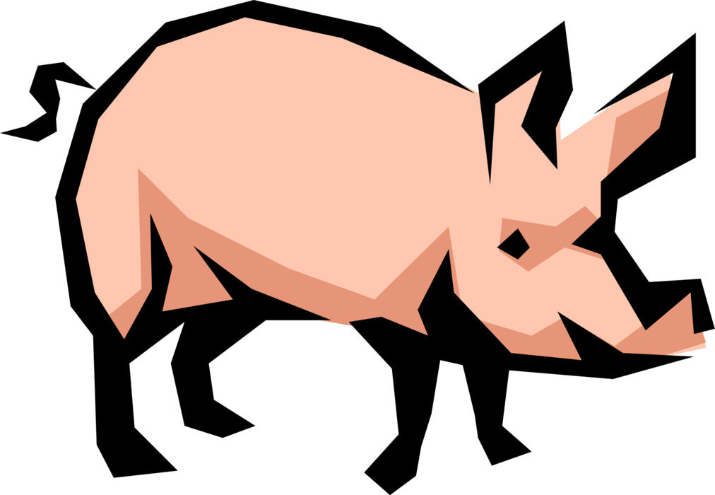 Vector Illustration of Farm Agriculture Livestock Animal Pig Hog Swine Porker (Aspires to be Bacon)