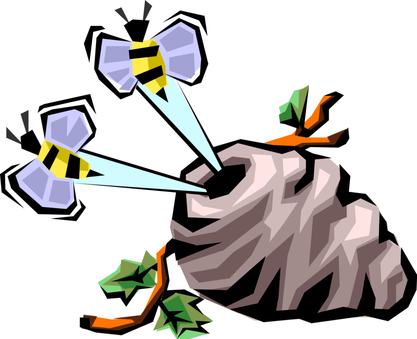 Vector Illustration of Worker Bee Bumblebees or Honeybees Buzzing From Hive