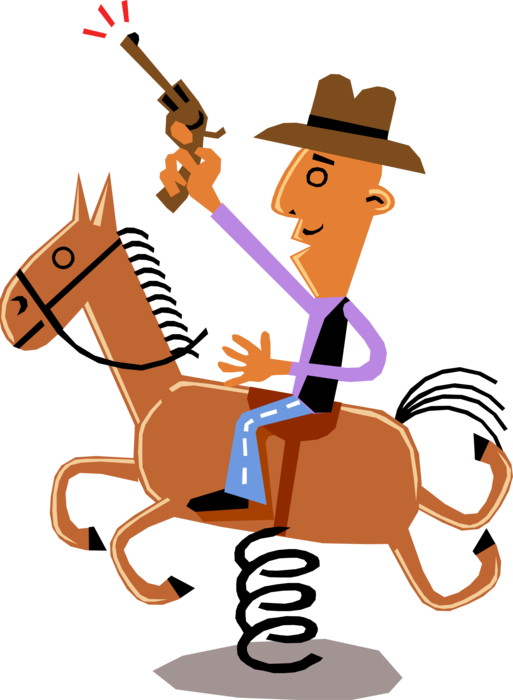 Vector Illustration of Man on Horseback Pretends He's Cowboy, Thinks It's Real Horse