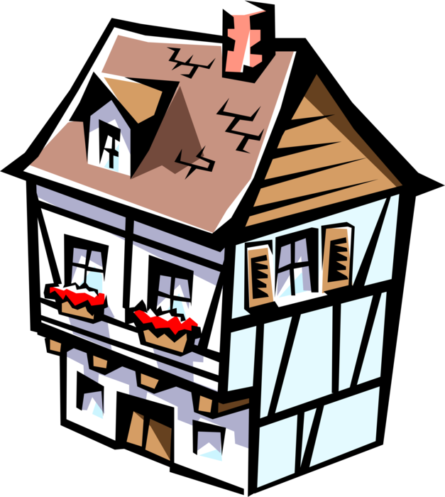 Vector Illustration of European Style House Residence Dwelling