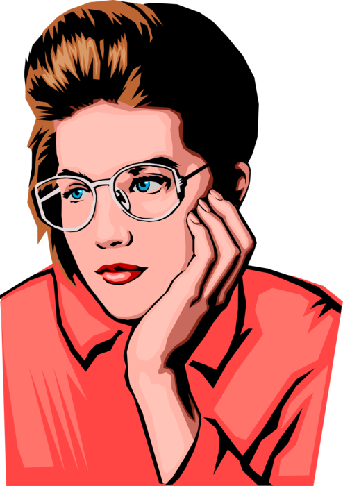Vector Illustration of Businesswoman Listens Attentively in Meeting