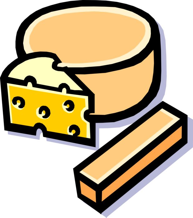 Vector Illustration of Fresh Cheese Food Derived from Dairy Milk