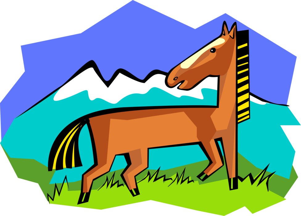 Vector Illustration of Quadruped Equine Horse