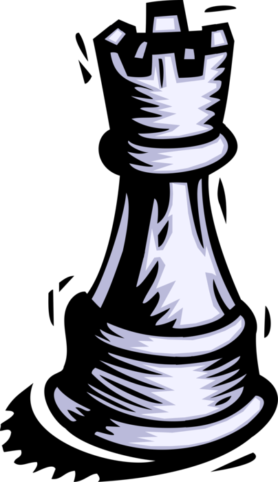 Vector Illustration of Game of Chess Strategy Board Game Piece Castle Rook