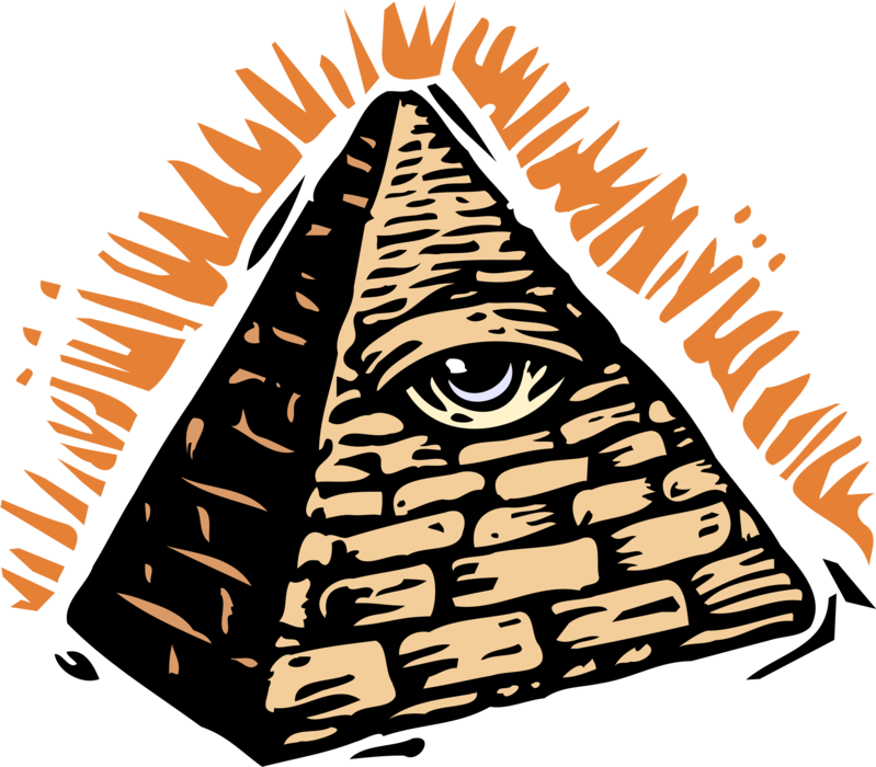 Vector Illustration of All Seeing Eye of Providence or Third Eye Symbol