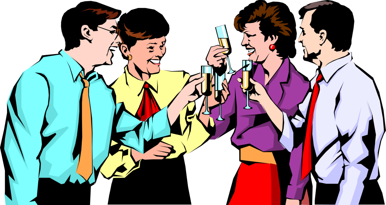 Vector Illustration of Office Colleagues Celebrate their Success and Toast with Champagne