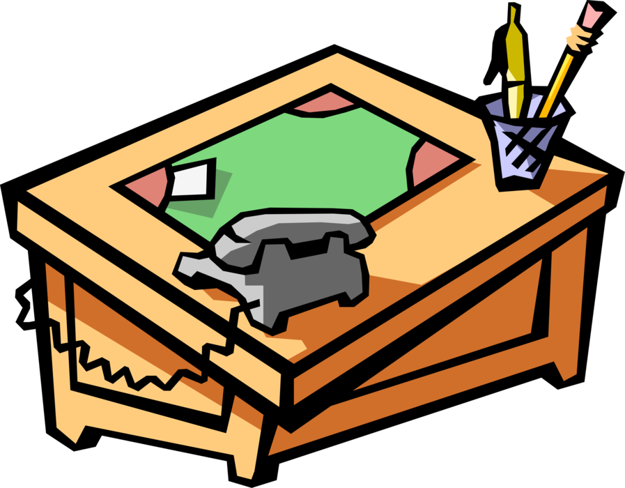 Vector Illustration of Office Desk with Blotter, Telephone and Writing Instruments