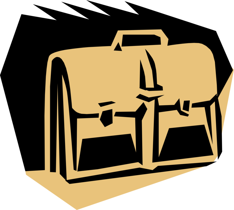 Vector Illustration of Briefcase or Attaché Portfolio Case Carries Documents