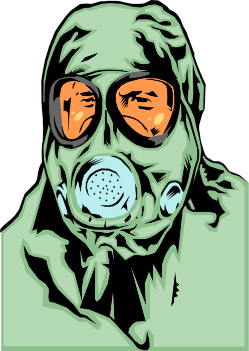 Vector Illustration of Gas Mask Protects From Inhaling Airborne Pollutants and Toxic Chemical Gases