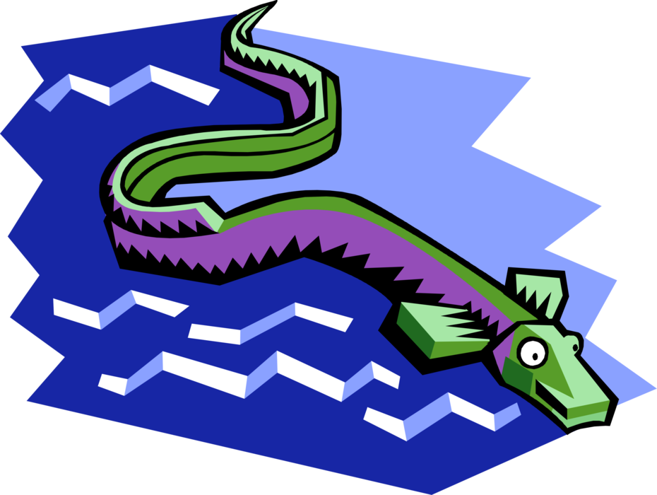 Vector Illustration of Aquatic Marine Eel-Like Marine Sea Creature Swimming