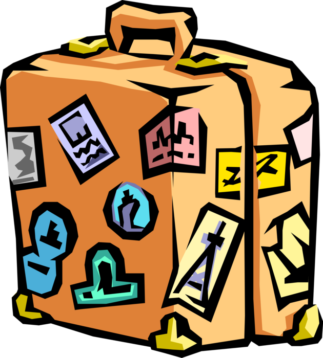 Vector Illustration of Traveler's Baggage or Luggage Suitcase