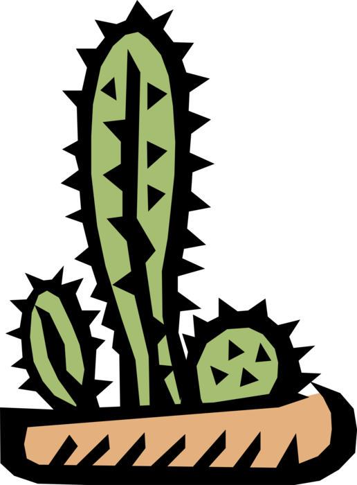 Vector Illustration of Desert Vegetation Succulent Cactus Houseplant