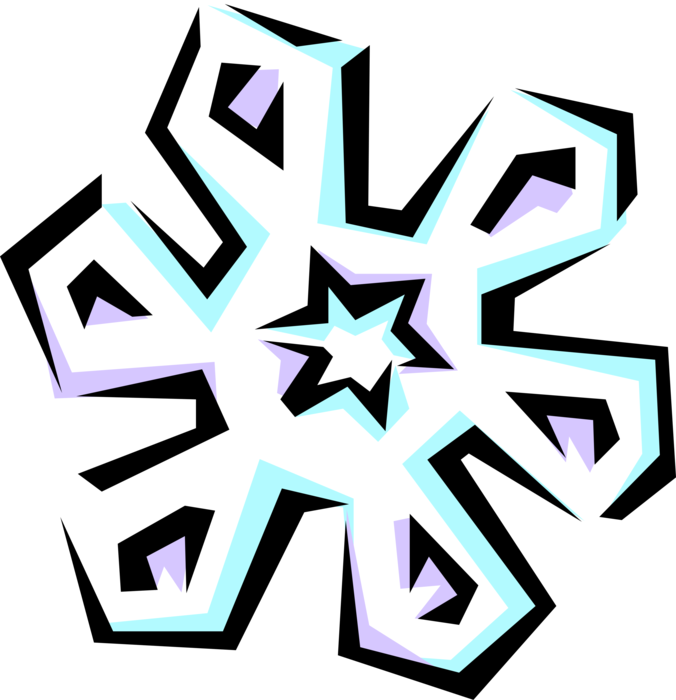 Vector Illustration of Snowflake Ice Crystal Symbol