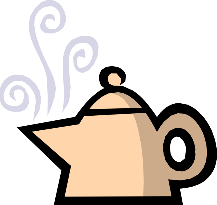 Vector Illustration of Teapot with Spout and Handle Serves Freshly Steeped Tea Leaves