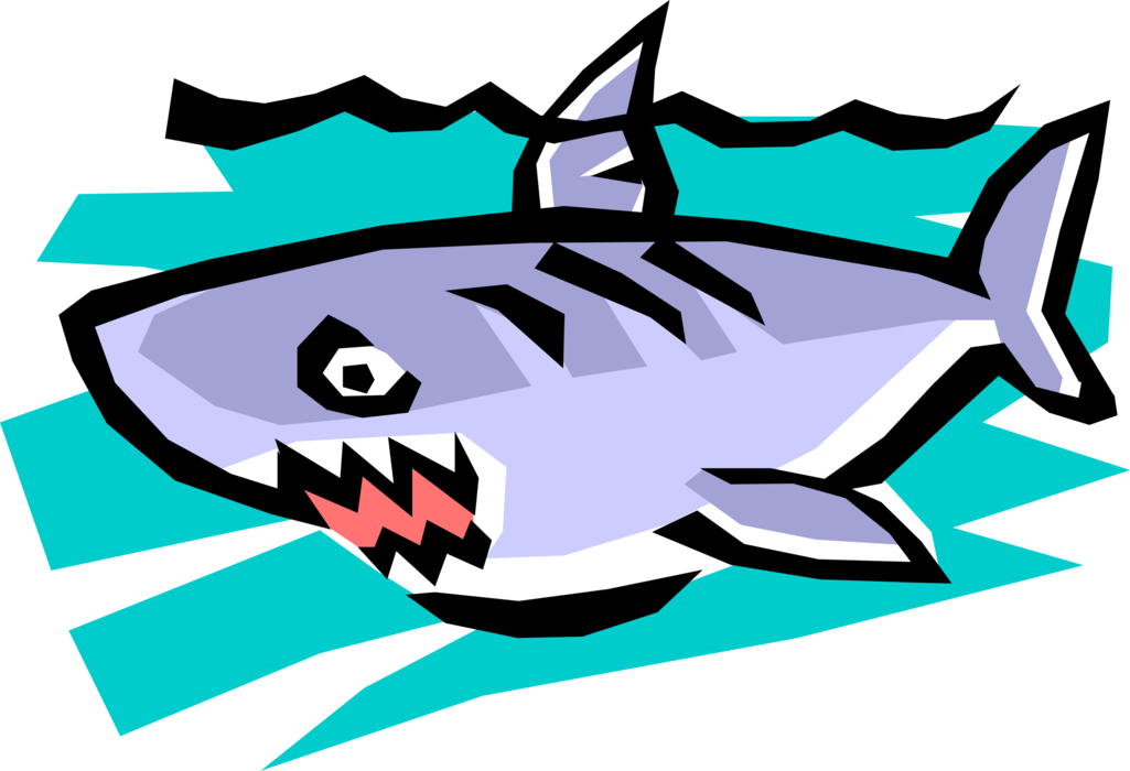 Vector Illustration of Great White Shark Swimming