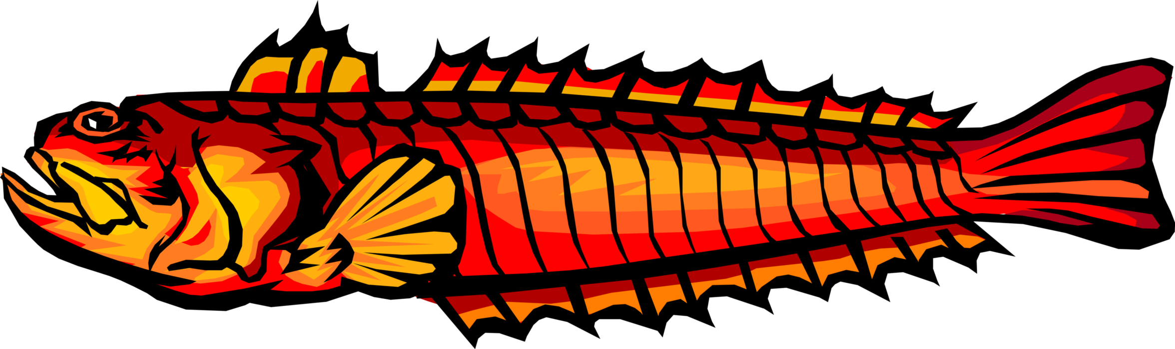 Vector Illustration of Deep Sea Marine Aquatic Fish
